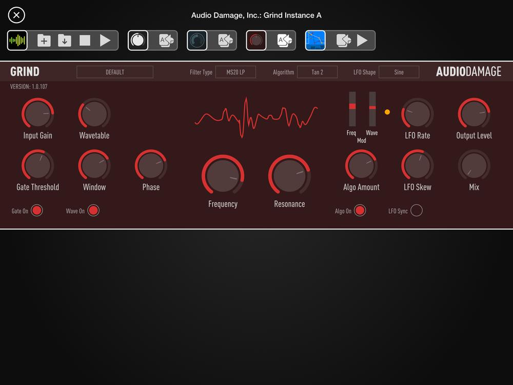 Så här ser Grind ut när den används som AU i Audiobus 3. Det snygga, rena gränssnittet går igen i de andra två Audio Damage-pluggarna som omnämns i artikeln.