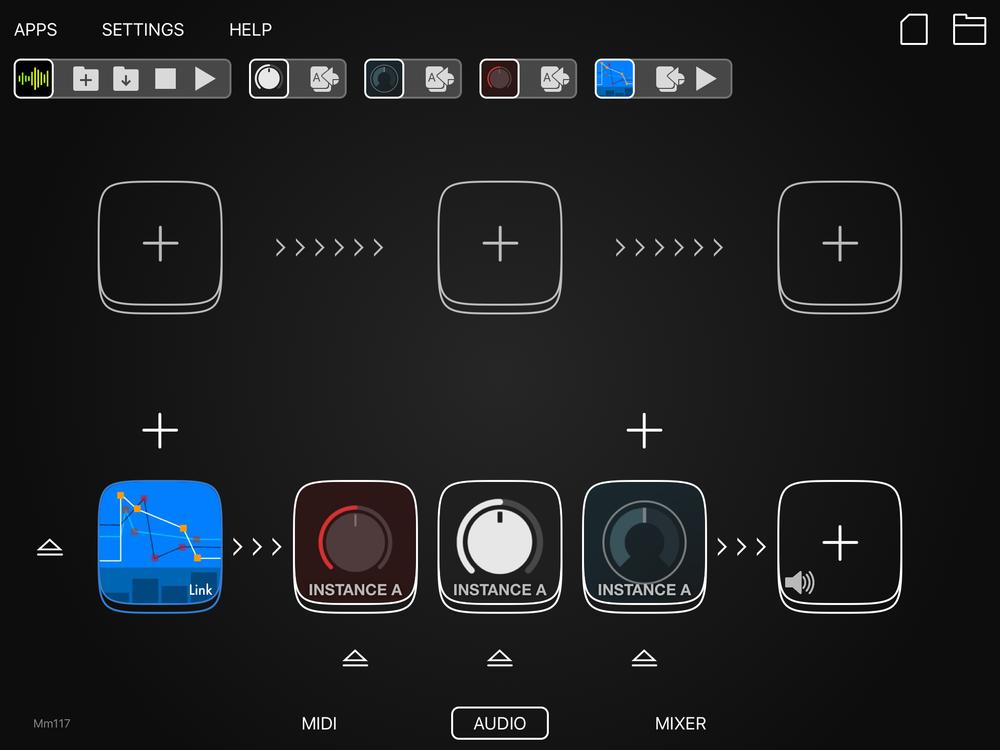 Ett upplägg i Audiobus 3, med Grind, Dubstation 2 och Eos 2. Trummaskinen som manglas igenom den heter SeekBeats och har tidigare omskrivits i den här artikelserien.