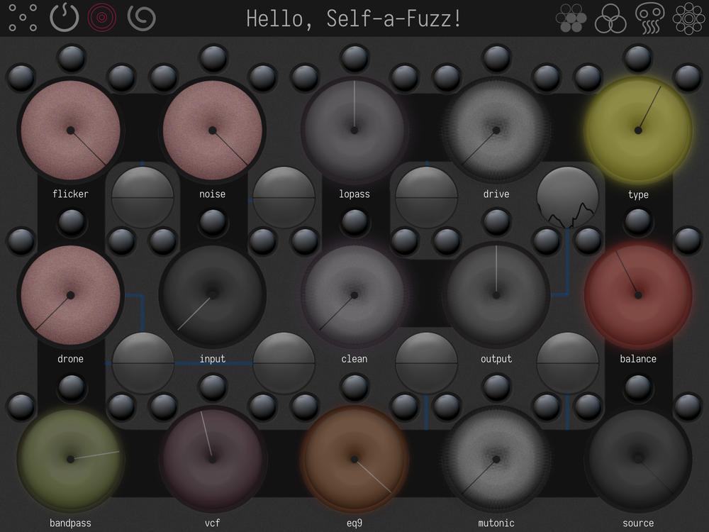 """Self-a-Fuzz med sina lugubert glaserade """"munkar"""". Det här är bara en av fyra vyer i den här minst sagt omfattande ljudförstörelse-appen."""