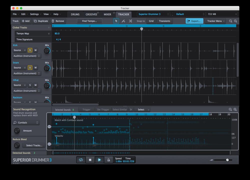 Här jobbar nytillskottet Tracker med att omvandla ljudfiler till MIDI-spår.