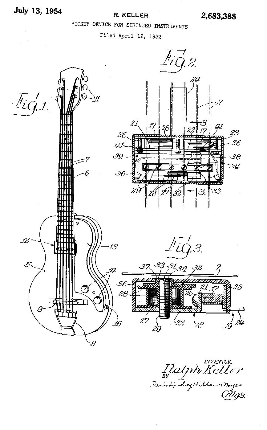 En tidig patentskiss på Kellers Vistatone-mickar.
