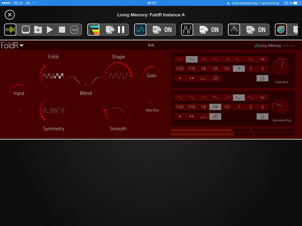 Jag har valt det röda temat i FoldR. Modulationsdelen till höger är det som verkligen lyfter den här appen.