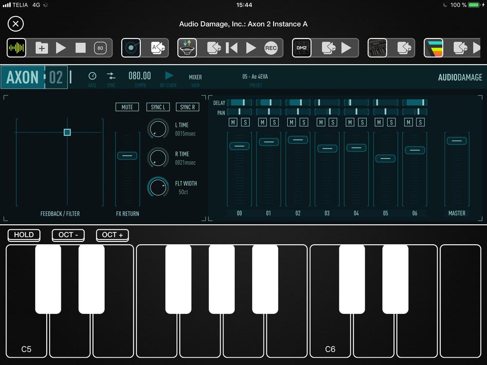 Axon 2 öppnad som AU i Audiobus 3. Detta är mixerdelen. Använder man appen som standalone så ryms båda delarna på en skärm.
