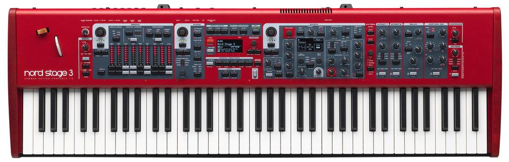 Nord Stage 3 finns som tre olika modeller med tre olika klaviaturer. Här mellanmodellen Nord Stage 3 HP76.