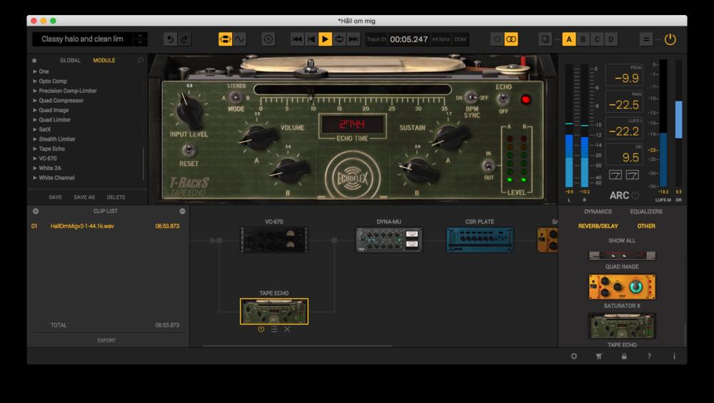 Här har vi lagt en favoritmodul, EchoFlex, parallellt med huvudkedjan.