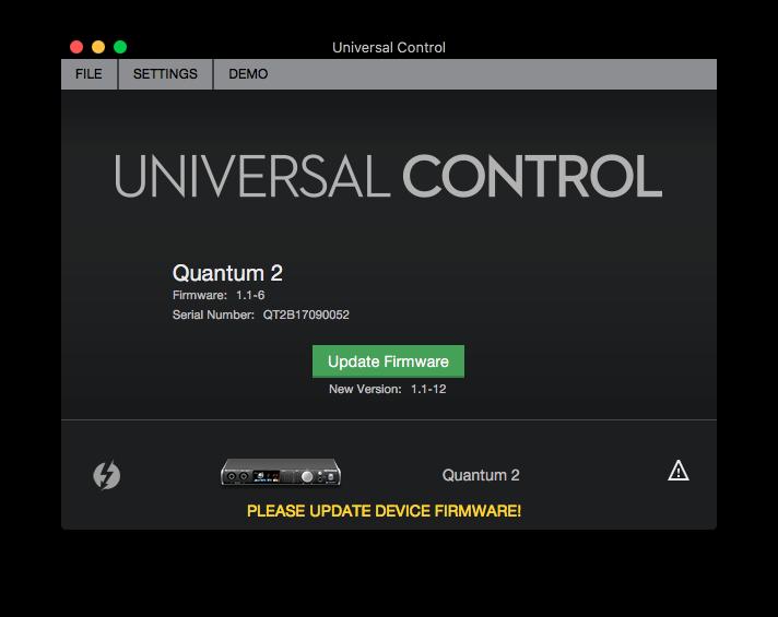 Första gången du startar Universal Control kollar den så att Quantum 2 har den senaste firmware-versionen.