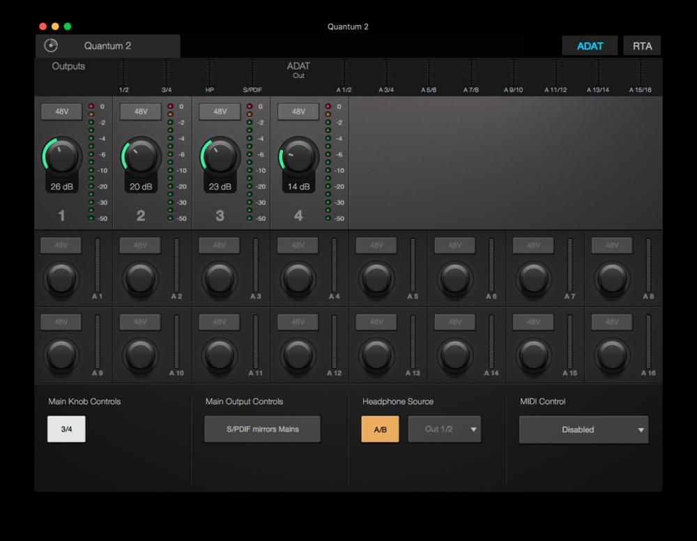Med Universal Control har du koll på en massa nivåer i ljudkortet.