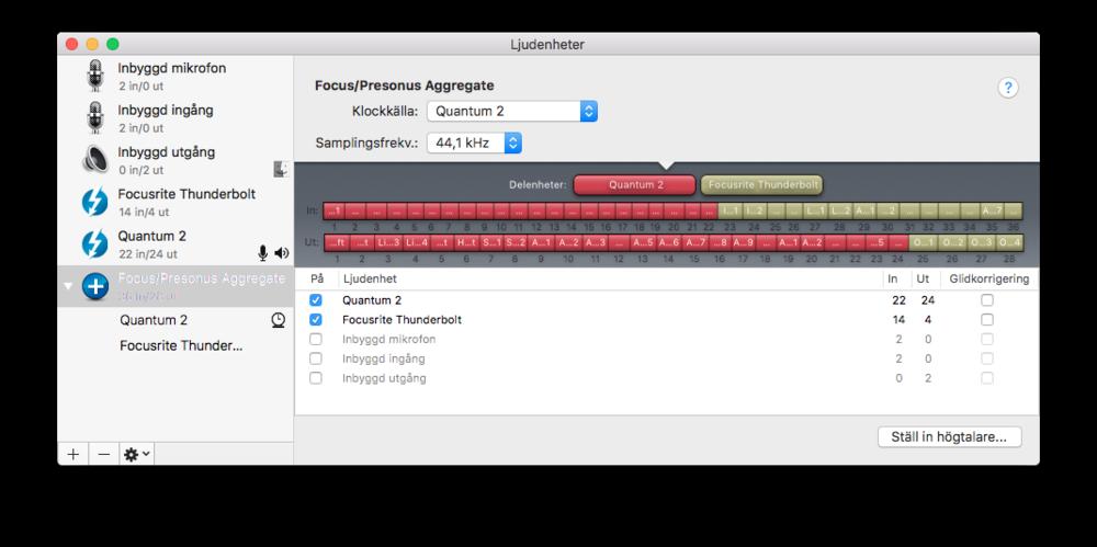 Skulle inte antalet ingångar räcka till kan du länka upp till fyra Quantumkort, eller som här (i Max OS X) enkelt koppla samman ett Quantum 2 och ett Focusritekort för 36 in och 28 ut.