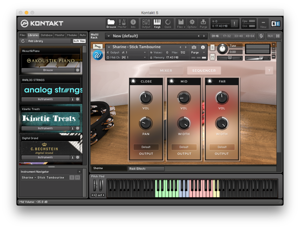 Här kan man balansera de tre olika mikrofonuppsättningarna för varje instrument.