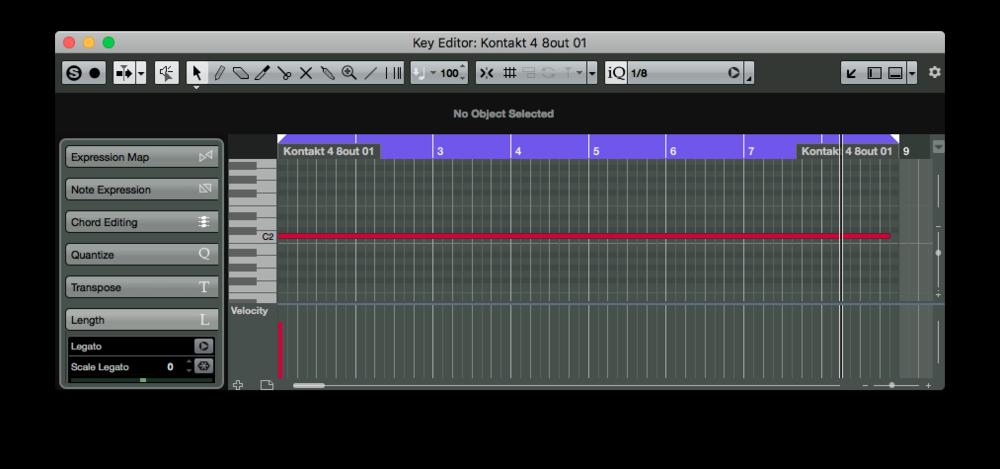 MIDI-noten som triggar sekvensen för en loop, har kortats en aning för att inte sekvensen ska dubbeltriggas.