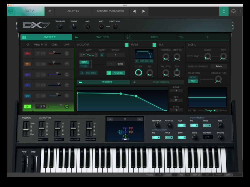 DX7 V är betydligt enklare att programmera själv än det fysiska originalet.