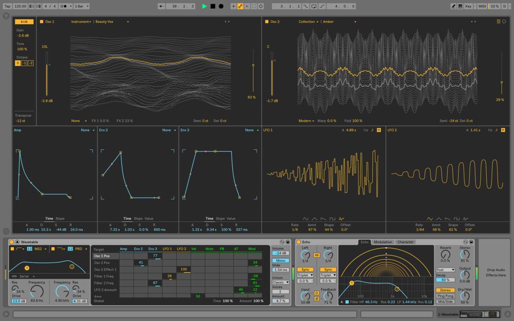 Wave-tablesynten erbjuder helskärmsläge. I bild ser vi också nya effekten Echo.
