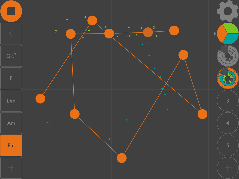 """dot Melody. De tre färgerna är trummor, bas och lead. Här ser vi lead-sekvensen i form av en stökig linje med punkter som man kan lägga till, ta bort, inaktivera (paus), eller flytta runt. Till vänster kan man väja skalor och till höger spara sina sekvenser, och på så vis """"spela"""" på dem."""