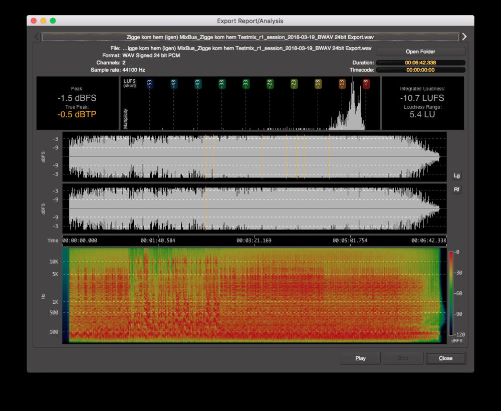 Man kan exportera den färdiga mixen i en mängd olika format, och man får en mycket detaljerad rapport.