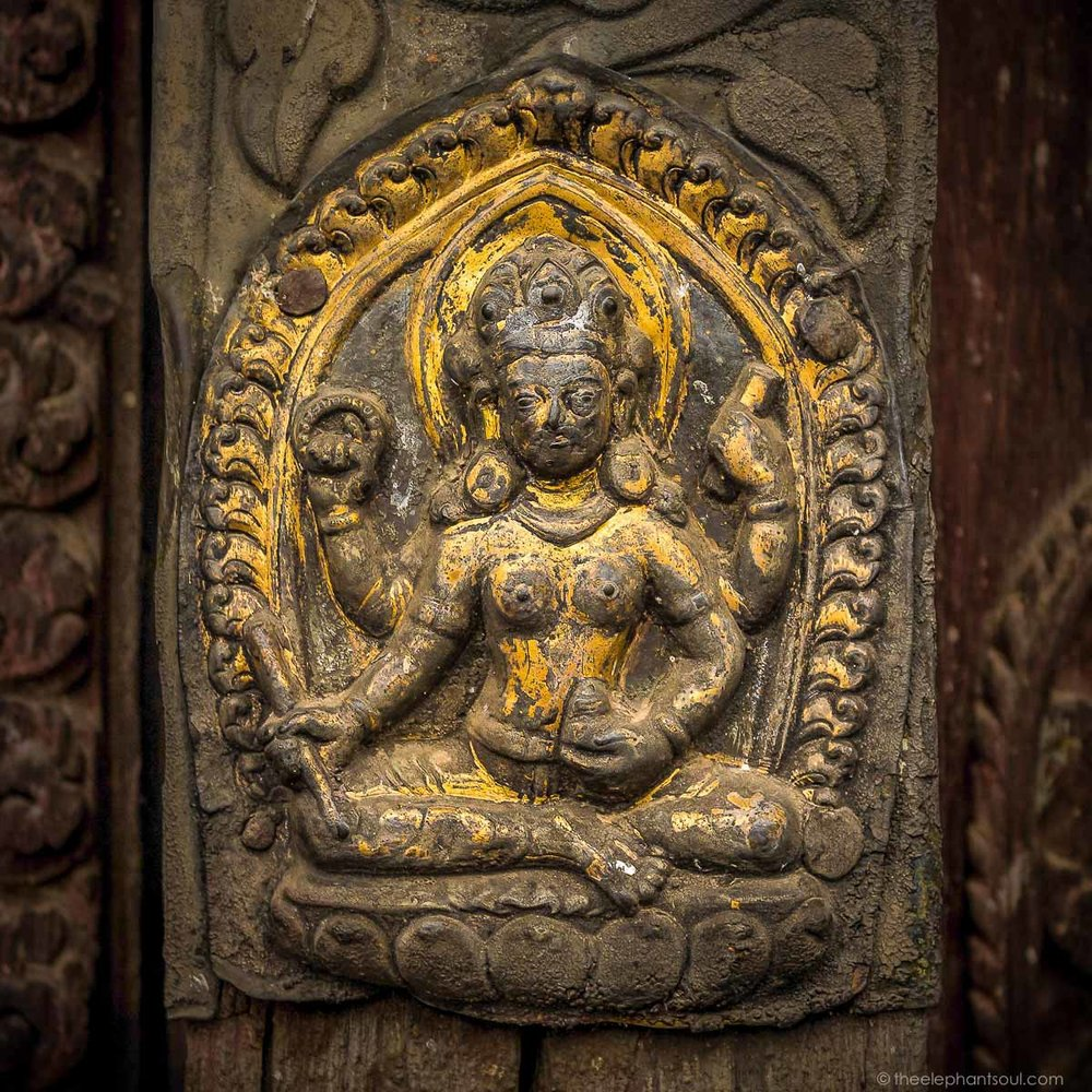 Carved Stone of Lord Vishnu at Nepal's Oldest Temple