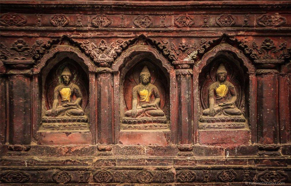 Three Buddhas from the Mahabouddha Temple - Kathmandu Nepal