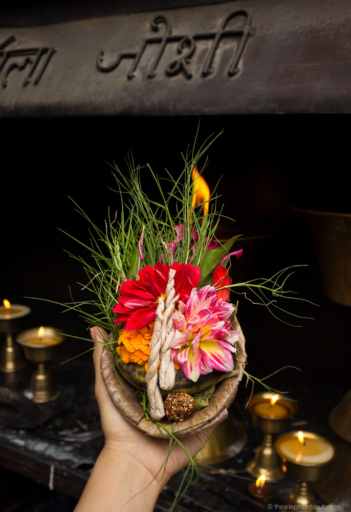 Offerings I took to Lord Ganesh during my first visit to Kamladi Ganesh Temple in Kathmandu, Nepal