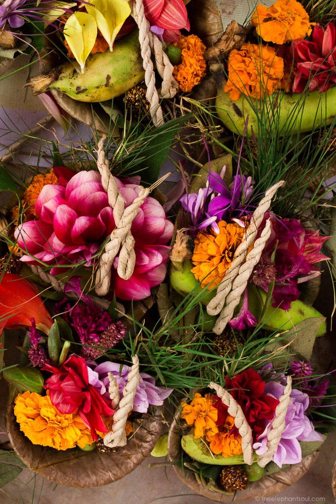 Flower and sweets sold as offerings outside the Kamladi Ganesh Hindu Temple in Kathmandu, Nepal