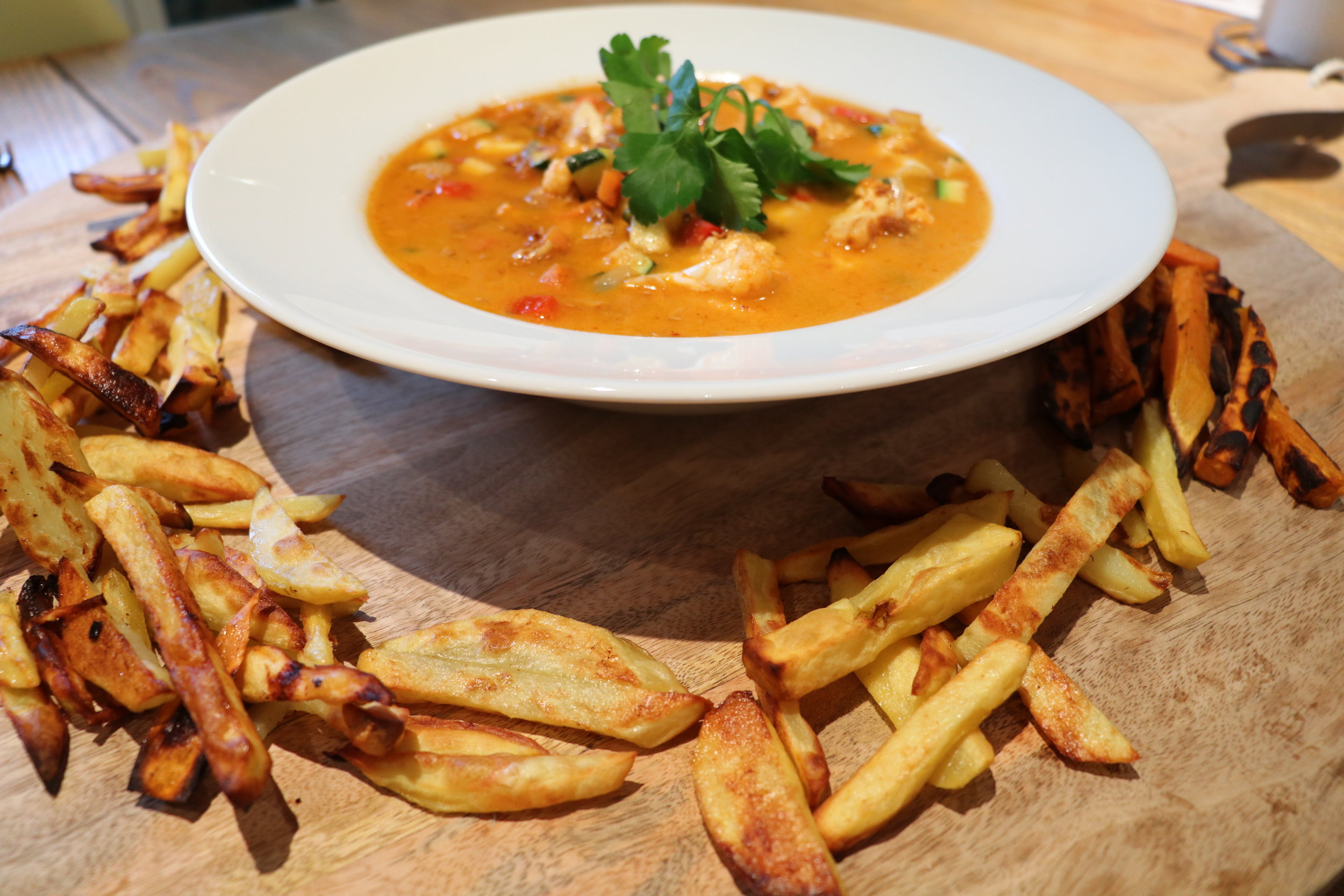 Easy 25 Min Max Spicy Vegetable Curry and Sweet Potato Chips