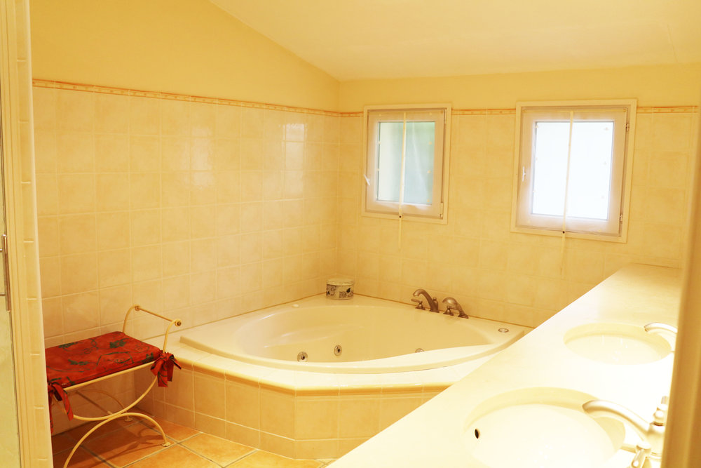 Master bathroom with massage shower, jacuzzi and double sink.