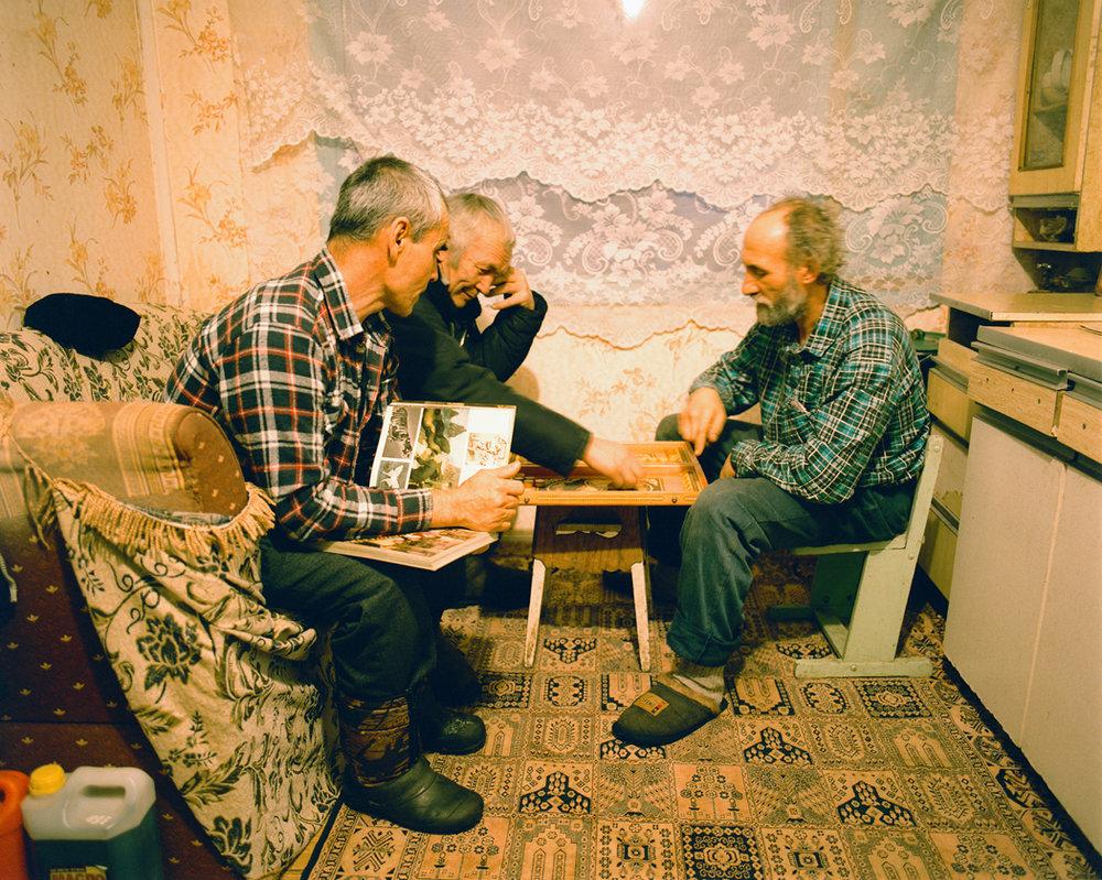 In the cabin kitchen at Alexander Batalov's tiger reserve in Eastern Siberia