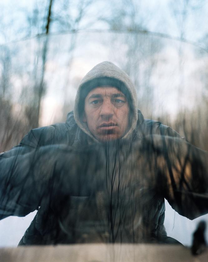 Sergei Batalov, photographed on a snowmobile close to Durmin village in the Russian Far East