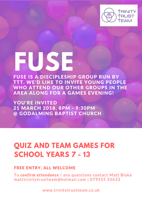 FUSE Quiz and Games Night - For school years 7 - 13 at Godalming Baptist Church