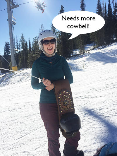 Me, looking absolutely fabulous (obviously), as one of the course helpers at a recent COSMIC event at the Eldora Ski Resort. FYI, those bells are not for the faint-hearted. They weigh a ton!