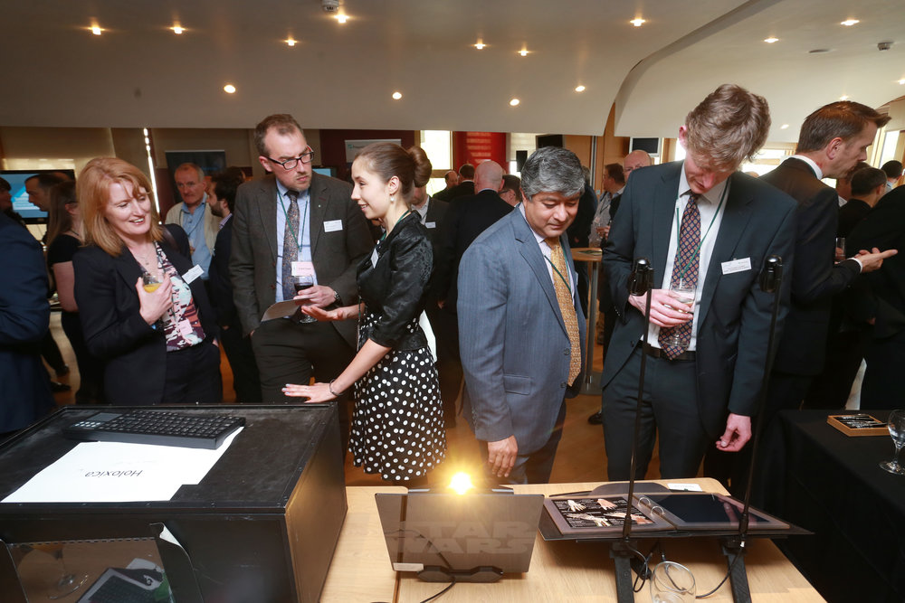Anna and Javid from Holoxica, showing their holographic video display and digital holograms. Photo courtesy of Technology Scotland.