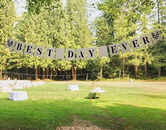 This one's hard to see but I penciled and then colored in the letter to the tune of Butler font.  #wedding #banner #bunting #bestdayever #typography #lettering #weddingart