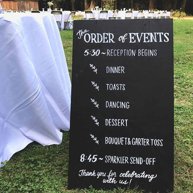 Did some signs for some friends' wedding. If you need sign work in the Orlando area, let us know!  #chalkboard #sign #chalksign #chalkboardlettering #weddingsign #orderofevents #weddingmenu #wedding #chalkboardsign