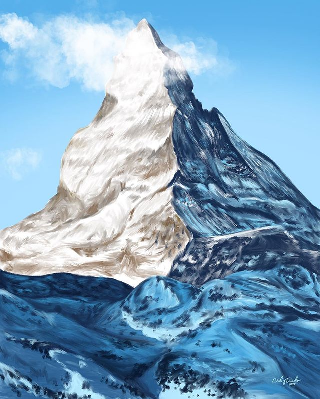 I'm having some fun with this iPad of mine.  #procreate #art #ipad #ipadart #mountainart #ipadpainting #procreateart #procreateapp #ipadproart #mountains #matterhorn #switzerland