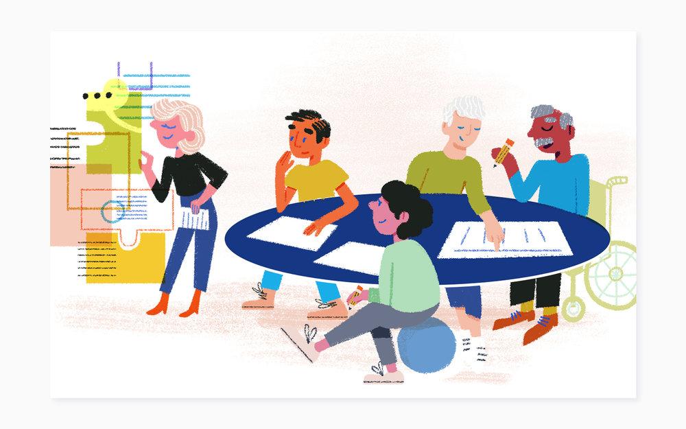 Le design Web proposé par Laura Lee et les illustrations d'Alyssa Gonzalez apportent une fraîcheur au site en insufflant créativité et ingéniosité dans les pages. La nature collective et communautaire du projet est aussi mise en valeur dans chacune des pages Web où s'activent des personnes mûres, au profil diversifié.