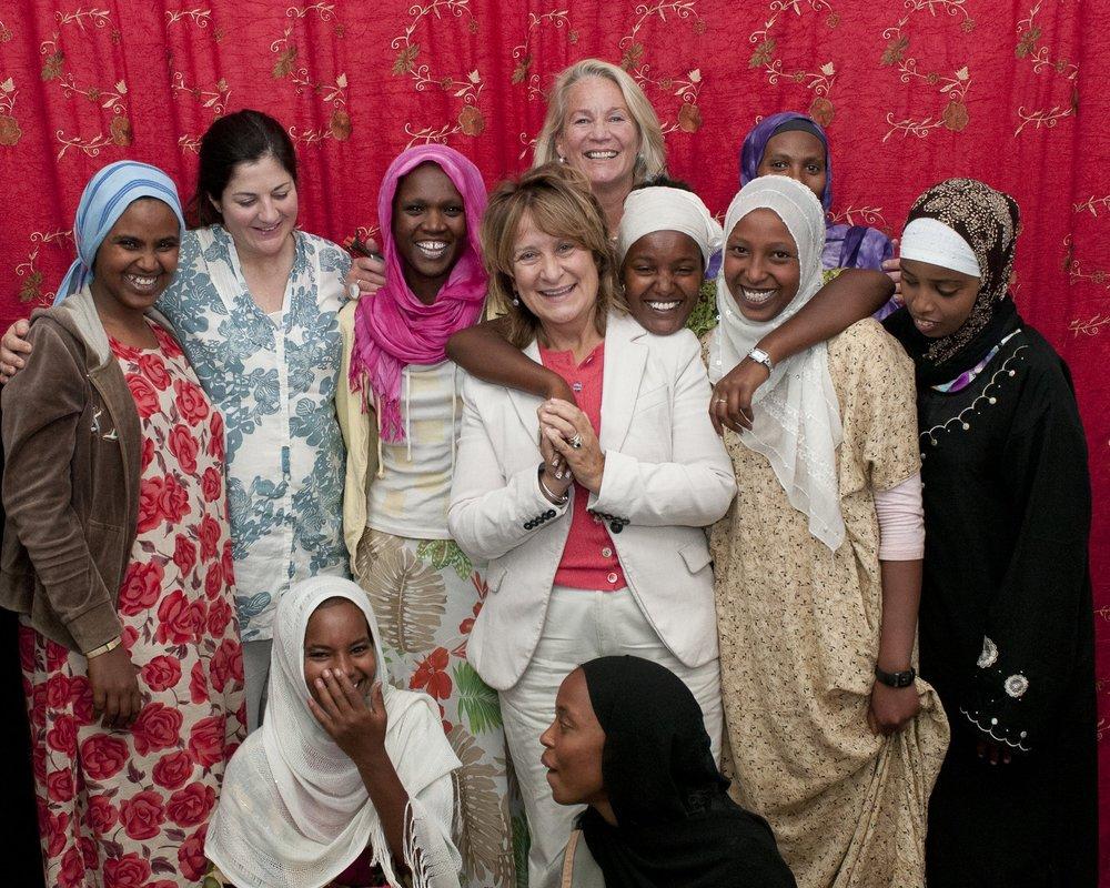 Helena Kennedy QC (centre) in Ethiopia in 2008 speaking with girls who were cut when they were younger