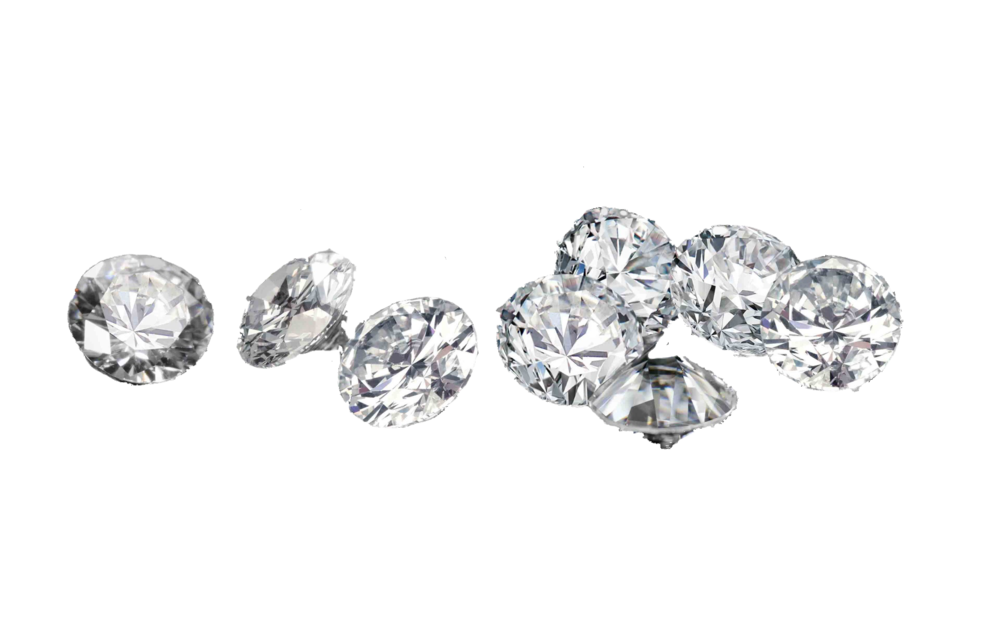 Scattered group of colorless memorial diamonds