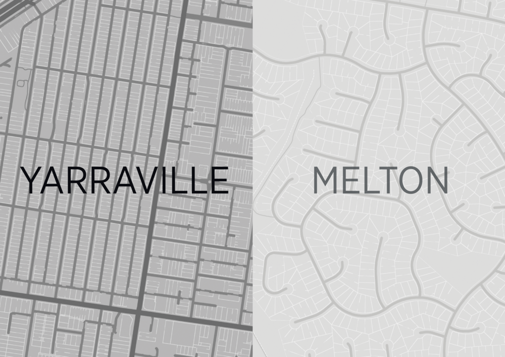 A comparison was made between the streets of an inner suburb and those of an outer suburb.