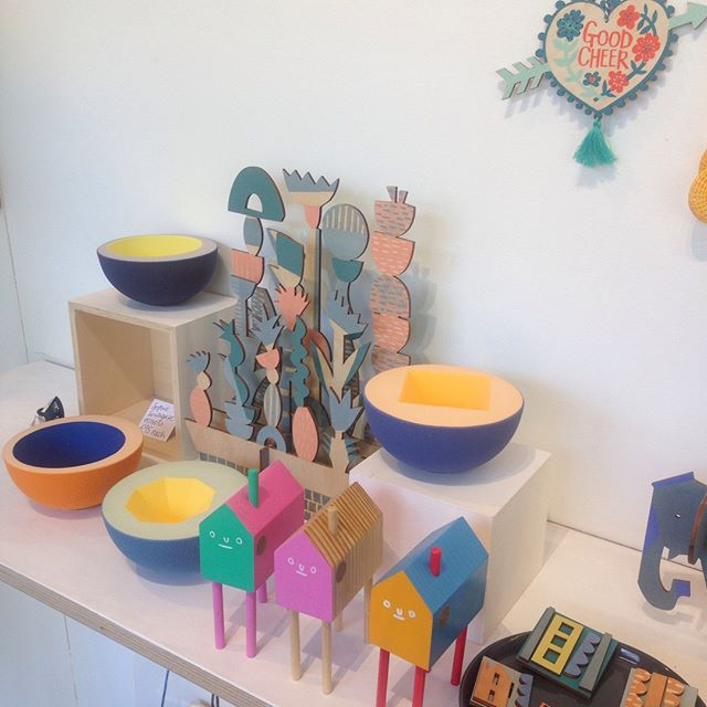 Gorgeous colourful gifts for the Easter weekend! We currently have some very tempting ceramic pieces by Sophie Southgate hanging out with some Hiffy Ulrich houses, Paper Argonaut decoration and the hand printed window box by Rachel Sim. Her elephant is also trying to get a look in! Come and see us today or Friday/Saturday, 11-5!