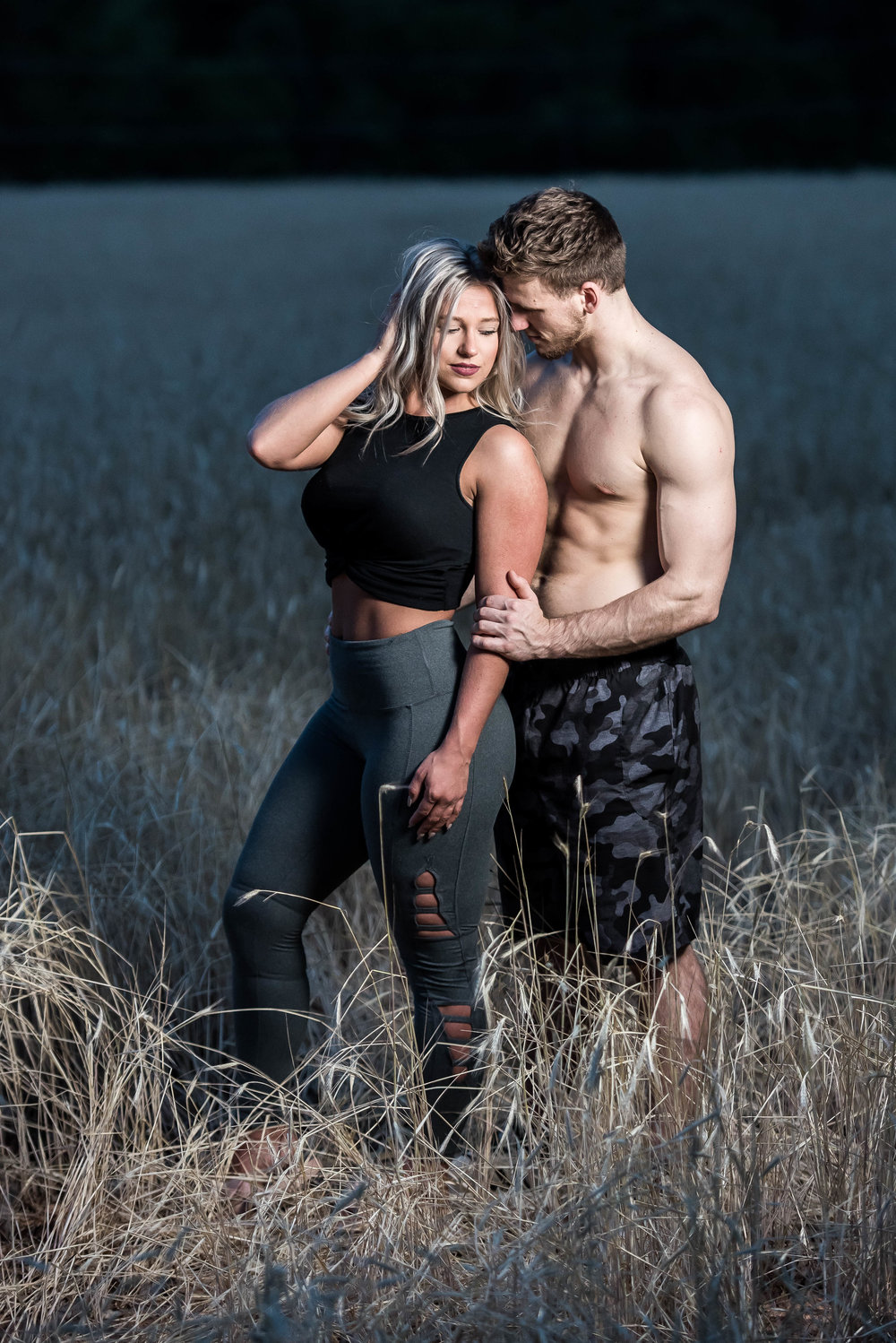Couple Session - Fitness Couples - Tall Grass Field - Engagement Portrait Ideas - Engagement Session Ideas - Couple Session Ideas - Spring Picture Ideas-23.jpg