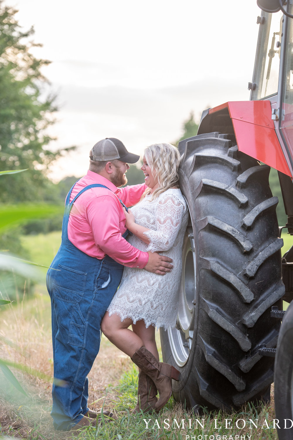 NC Engaged - Wallburg Engagement - Country Engagement Session - Barn Engagement Session - Outdoor Engagement Session - Farmer Engagement Session - Engagement Session with Overalls and Boots-15.jpg