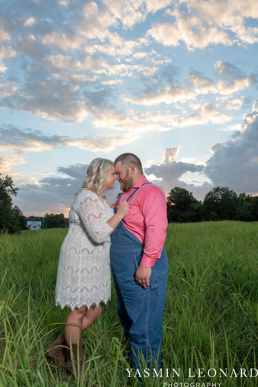 NC Engaged - Wallburg Engagement - Country Engagement Session - Barn Engagement Session - Outdoor Engagement Session - Farmer Engagement Session - Engagement Session with Overalls and Boots-16.jpg