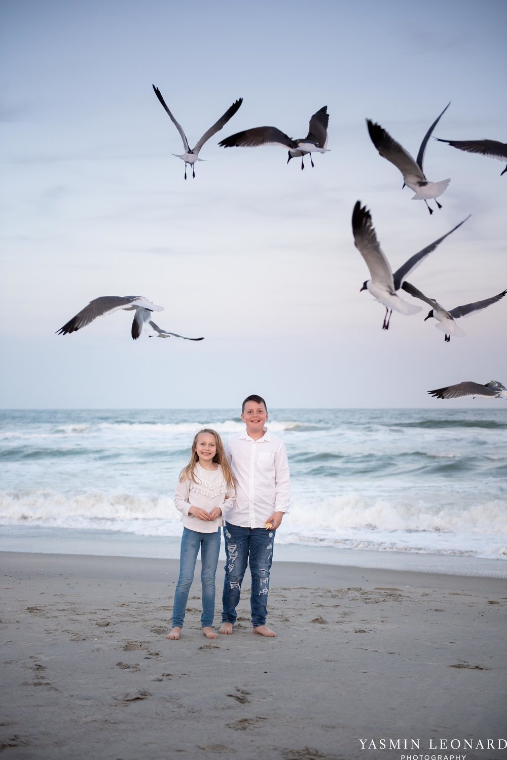 Sibling Beach Pictures - Caorlina Beach Portraits - Kure Beach Portraits - Sibling Beach Pictures - Family Pictures at the Beach - Seaguls and Children - Summer Picture Ideas - Sibling Poses-8.jpg