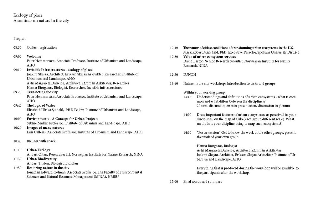 The program of the seminar The ecology of place.