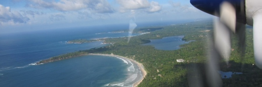 View of Mawella Beach from the Air Taxi, which lands in the lagoon just behind the beach