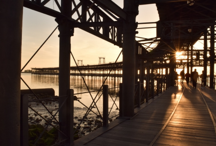 Stroll along a horizontal Eiffel tower to get an amazing view of the port of Huelva.