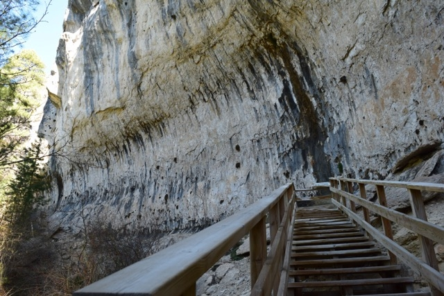 Stairs allow you to get up close and personal with the limestone cliffs.