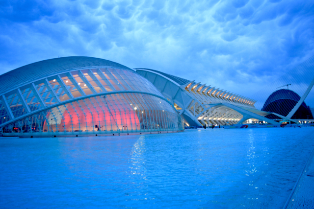 The futuristic Avante-Garde architecture of Valencia's Art and Science city.
