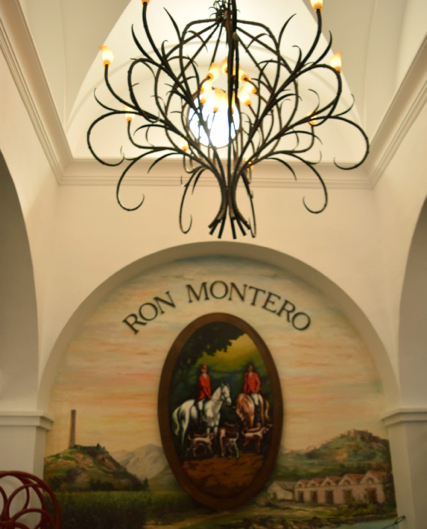 The entrance of Ron Montero displays a chandelier made to represent sugar canes.