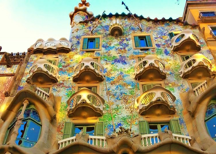 In Barcelona you will come across numerous examples of Gaudi's creations—including this one—Casa Batlló.