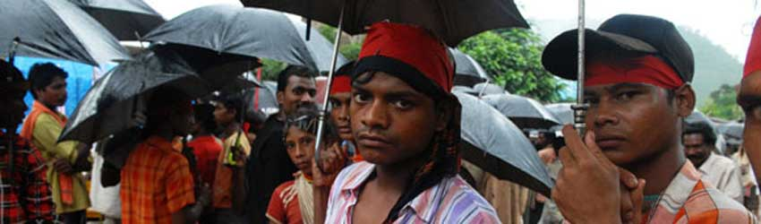 Protesters of the proposed POSCO steel works in Odisha province, India.