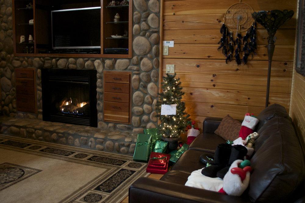 living room on Christmas Morning.